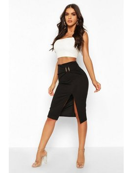 Belted Split Tailored Skirt by Boohoo