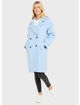 Pale Blue Raw Edge Overcoat by Miss Selfridge
