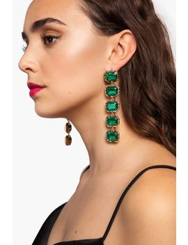 **Emerald Stone Drop Earrings by Topshop