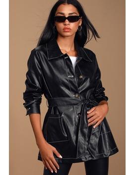 Abilene Black Vegan Leather Belted Jacket by Lulus