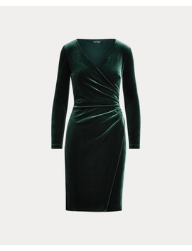 Velvet Surplice Dress by Ralph Lauren