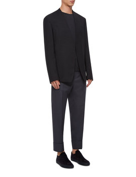 Two Ply Collarless Wool Blazer by Maison Margiela