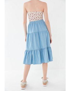 Bdg Annie Denim Tiered Ruffle Skirt by Bdg