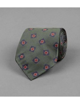Green And Navy Tumbling Square Motif Silk Tie by Drake's