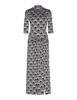 High Necked Printed Jersey Midi Dress by Paco Rabanne