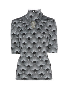 Embroidered And Printed Mock Neck Jersey Top by Paco Rabanne