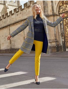 Hengrave Tweed Coat   Chunky Prince Of Wales Yellow by Boden