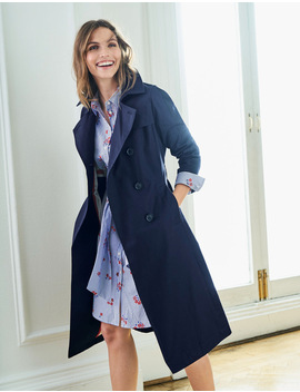 Whitstable Trench Coat   Navy by Boden