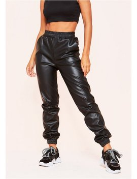 Ezra Black Faux Leather Joggers by Missy Empire