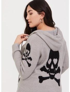Grey Skull & Bones Zip Hoodie by Torrid