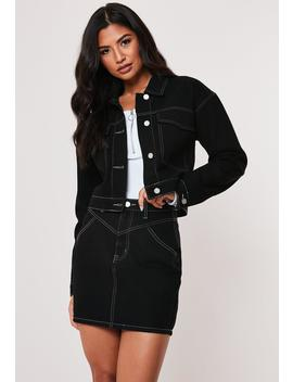 Black Co Ord Contrast Stitch Denim Jacket by Missguided