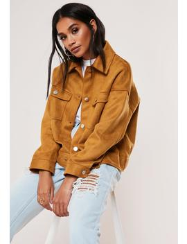 Tan Boxy Bonded Faux Suede Trucker Jacket by Missguided