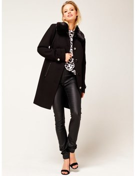 Faux Fur Collar Coat by New