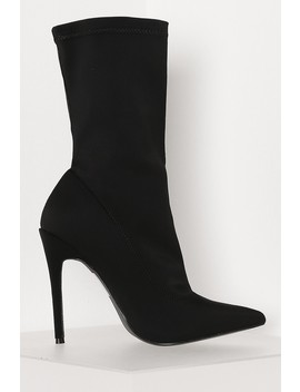 Black Lycra Pointed Sock Boots by Lasula