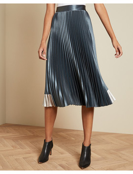 Contrast Panel Pleated Midi Skirt by Ted Baker