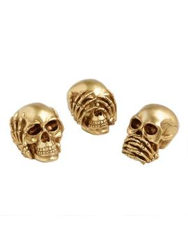 Gold No Evil Skull Decor Set Of 3 by World Market