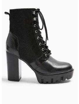 Beatie Black Lace Up Hiker Boots by Miss Selfridge