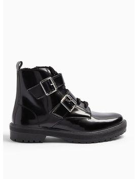 Bonnie Black Buckle Lace Up Ankle Boots by Miss Selfridge