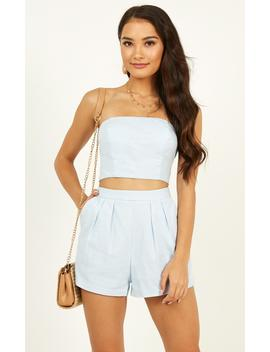 Did You Mean It Two Piece Set In Powder Blue Linen Look by Showpo Fashion