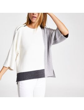 Cream Block Knitted T Shirt by River Island