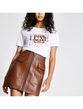 White 'luxe' Glitter Print T Shirt by River Island