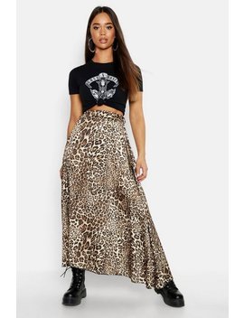 Asymmetric Leopard Midi Skirt by Boohoo