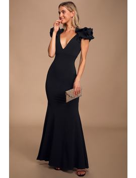 Alethea Black Ruffled Mermaid Maxi Dress by Lulus