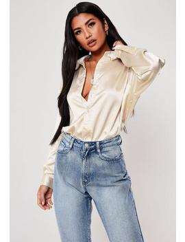 Petite Nude Satin Longline Extreme Oversized Shirt by Missguided