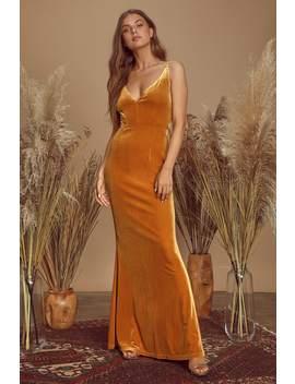 Maliya Orange Velvet Mermaid Maxi Dress by Lulus