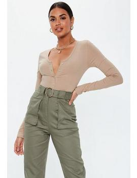 Sand V Neck Button Front Brazilian Bodysuit by Missguided