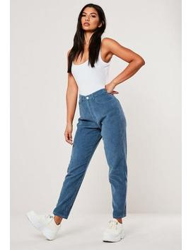 Blue Co Ord Cord Riot High Rise Mom Jeans by Missguided