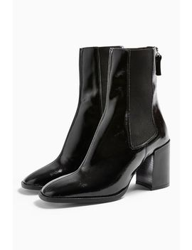 Verona Black Patent Chelsea Boots by Topshop