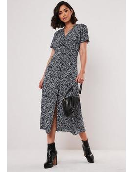 Navy Floral Button Down Midi Dress by Missguided