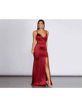 Chelsea Satin High Slit Dress by Windsor