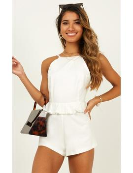 Read About It Playsuit In White by Showpo Fashion