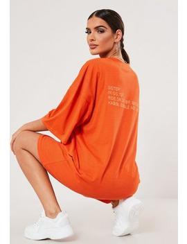 Sxf X Missguided Orange Oversized Slogan T Shirt Dress by Missguided