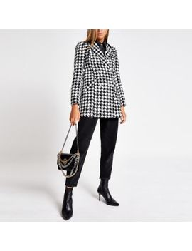 Black Dogtooth Print Double Breasted Jacket by River Island