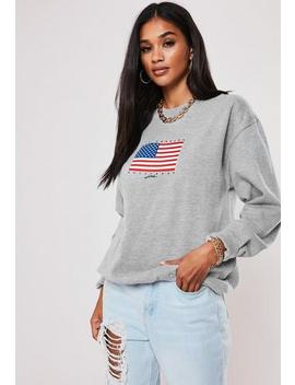 Grey American Hollywood Hills Graphic Sweatshirt by Missguided