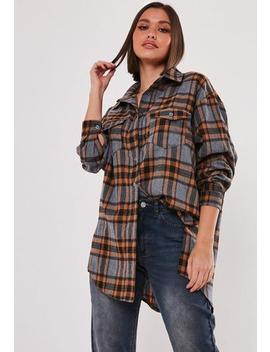 Brown Basic Oversized Check Shirt by Missguided
