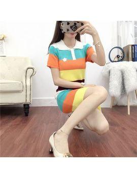 Kohin   Striped Short Sleeve Knit Polo Shirt Dress by Kohin