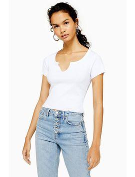 White Notch T Shirt by Topshop