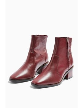 **Wide Fit Margot Leather Burgundy Boots by Topshop