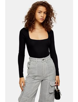 Square Neck Long Sleeve Bodysuit by Topshop