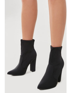 Block Heel Sock Booties by Forever 21
