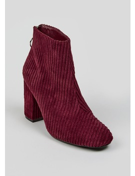 Cord Circle Zip Ankle Boots by Matalan