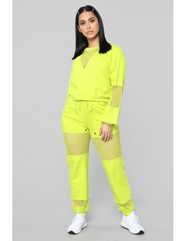 Fish Out Of Water Pant Set   Lime by Fashion Nova