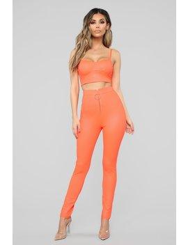 Never Miss A Trend Pant Set   Neon Orange by Fashion Nova