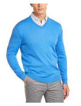 Men's Regular Fit Solid V Neck Merino Sweater, Created For Macy's by General