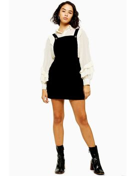Petite Black Corduroy Pinafore Dress by Topshop