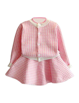 Fashion Wholesale Children's Fall Boutique Clothing Cardigan Knitted Dress 2 Pieces Kids Sweater Set For Baby Girl by Oem/Odm